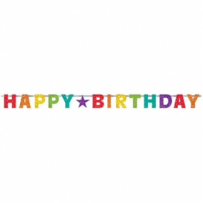 Letter Banner Birthday Accessories Rainbow Foil