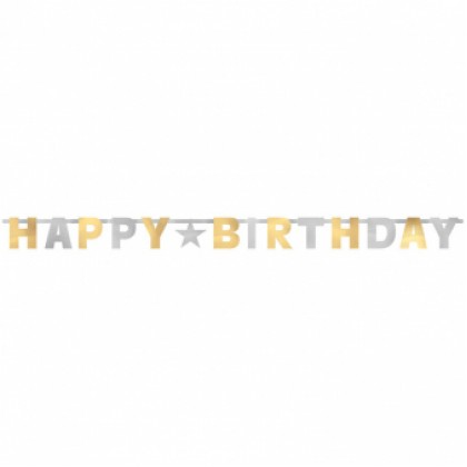 Letter Banner Birthday Accessories Silver & Gold Foil