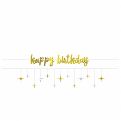 Banner Kit Birthday Accessories Silver & Gold Paper