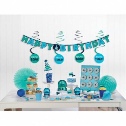 Mini Decorating Kit Birthday Accessories Blue Paper