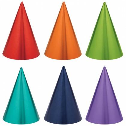 PARTY CONE HATS FOIL RAINBOW COLOURS