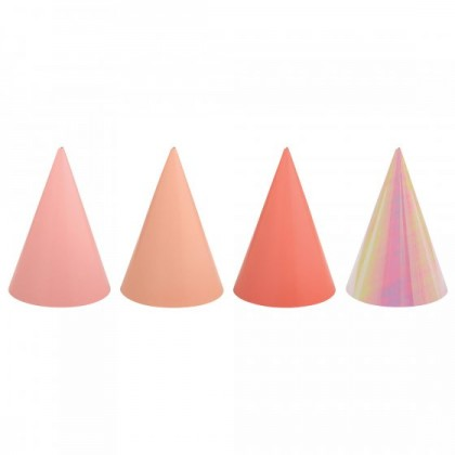 PARTY CONE HATS FOIL PINKS