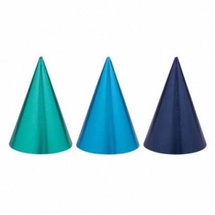 Cone Hats Birthday Accessories Blue Foil / Paper