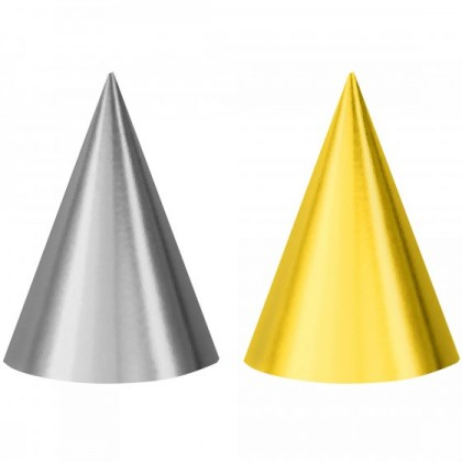 PARTY CONE HATS FOIL SILVER & GOLD