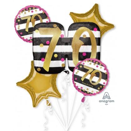 Pink & Gold Milestone 70 Holographic SuperShape™