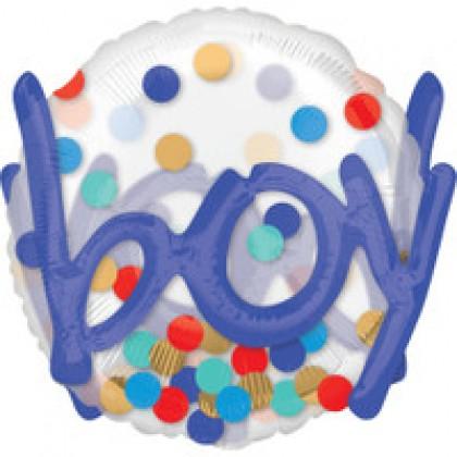 """P80 36"""" It's A Boy Confetti Dots Multi-Balloon"""