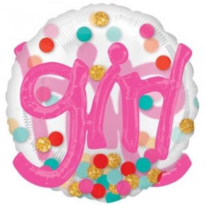 """P80 36"""" It's A Girl Confetti Dots Multi-Balloon"""