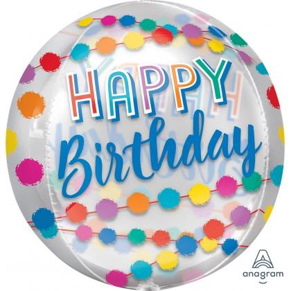 Happy Birthday Rainbow Puffs Orbz® XL™ Clear G20