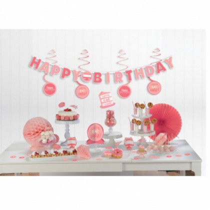 Mini Decorating Kit Birthday Accessories Pink Paper