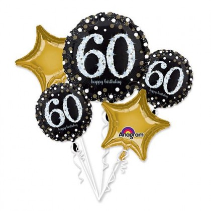 Sparkling 60th Birthday Balloon Bouquet