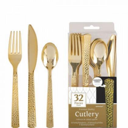 Hammered Cutlery Asst Plastic Gold