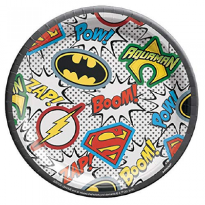 """Justic League Heroes Round Plates, 7"""""""