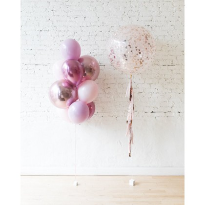CherryBlossom - Palette Confetti Giant & 11in and Orbs Bouquet Set