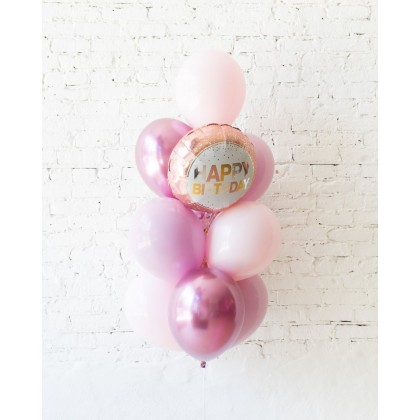 CherryBlossom - Happy Birthday Foil and 11in Balloons - bouquet of 10