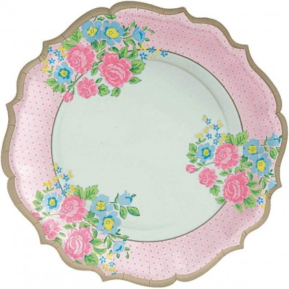 Tea Party Shaped Plates  10.5 in
