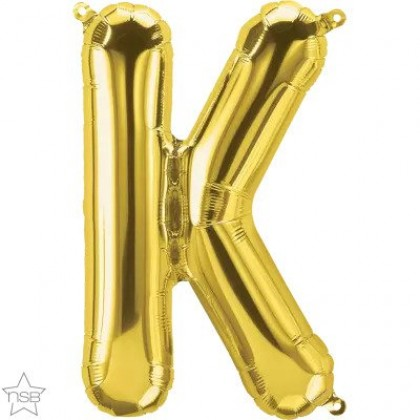 "NS 16"" (GOLD) Mini Foil Letter K"