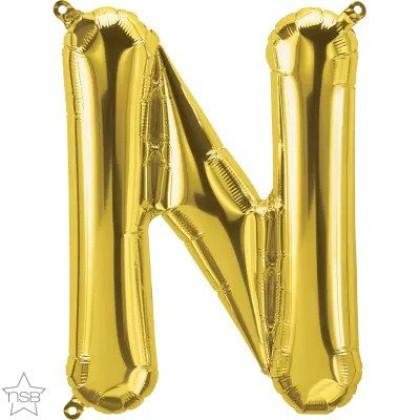 "NS 16"" (GOLD) Mini Foil Letter N"