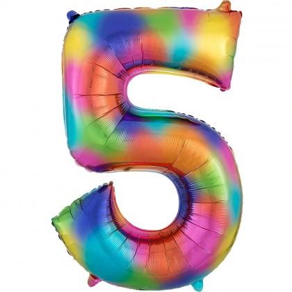"""L34 35"""" Number 5 Rainbow Splash"""