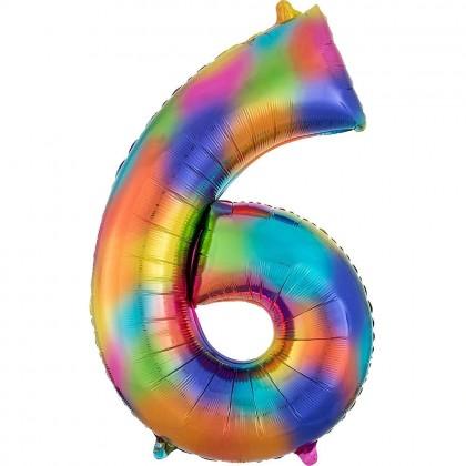 """L34 35"""" Number 6 Rainbow Splash"""