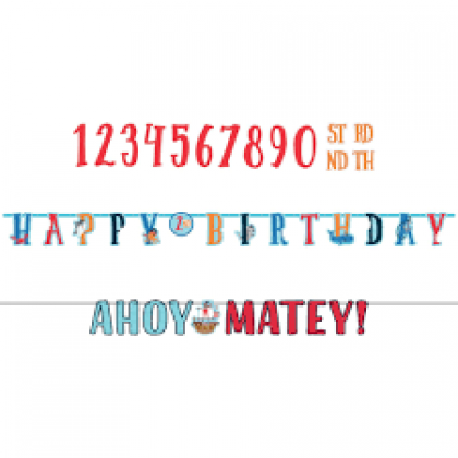 Ahoy Birthday Personalized Jumbo Letter Banner Kit - Paper