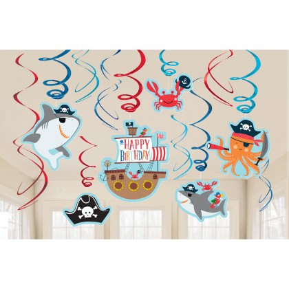 Ahoy Birthday Value Pack Swirl Decorations - Paper