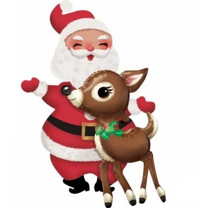 """P93 34"""" Santa & Reindeer AirWalkers® Foil Balloon"""
