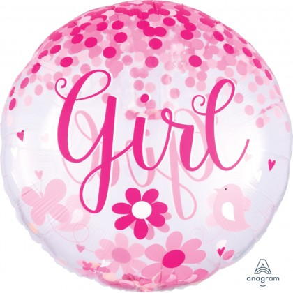 "P60 28"" Confetti Balloon Baby Girl Insiders™"