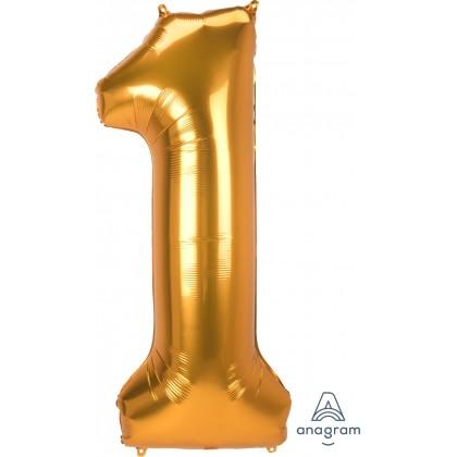 "L53 54"" Jumbo Number ""1"" Gold SuperShape"