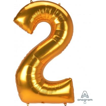 "L53 54"" Jumbo Number ""2"" Gold SuperShape"