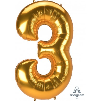"L53 54"" Jumbo Number ""3"" Gold SuperShape"
