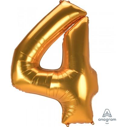 "L53 54"" Jumbo Number ""4"" Gold SuperShape"