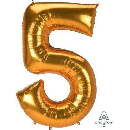 "L53 54"" Jumbo Number ""5"" Gold SuperShape"