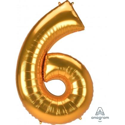 "L53 54"" Jumbo Number ""6"" Gold SuperShape"