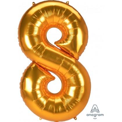 "L53 54"" Jumbo Number ""8"" Gold SuperShape"