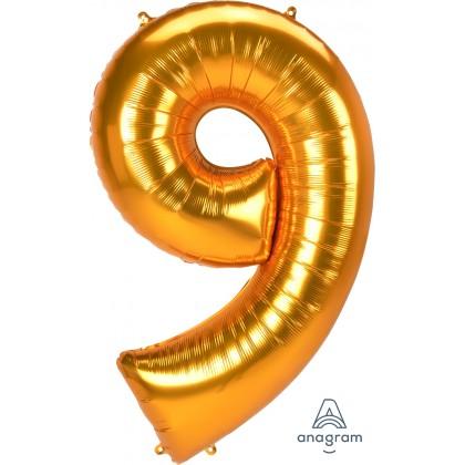 "L53 54"" Jumbo Number ""9"" Gold SuperShape"