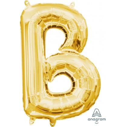 """L16 16"""" (GOLD) Mini Foil Letter B"""