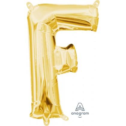 """L16 16"""" (GOLD) Mini Foil Letter F"""