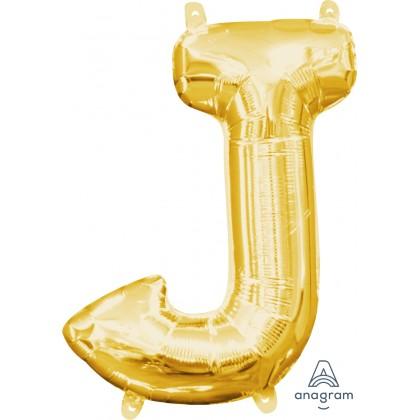 """L16 16"""" (GOLD) Mini Foil Letter J"""