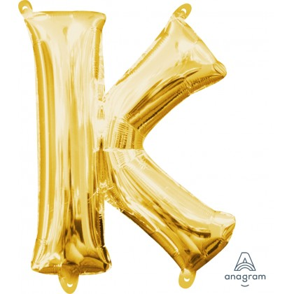 """L16  16"""" (GOLD) Mini Foil Letter K"""