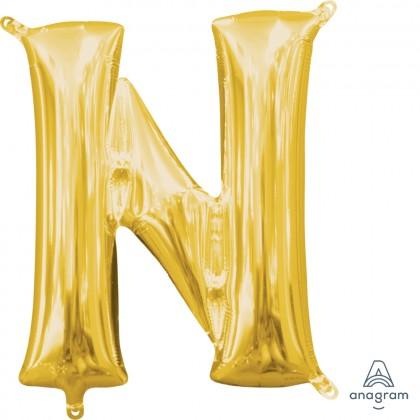 """L16 16"""" (GOLD) Mini Foil Letter N"""