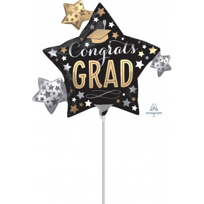 "A30 9"" Satin Infused Grad Stars Mini Shape Foil Balloon"