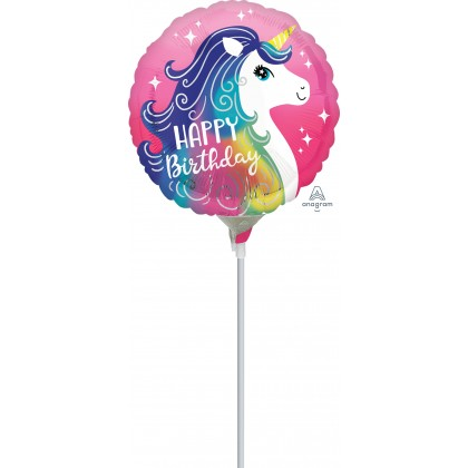 "A15 9"" Pink Unicorn Happy Birthday Mini Shape"