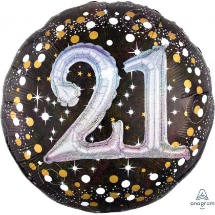 "P75 32"" Sparkling Birthday 21 Holographic Multi-Balloon"