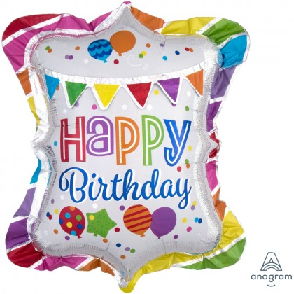 """P70 27"""" HBD Bright Party Bunting Multi-Balloon"""