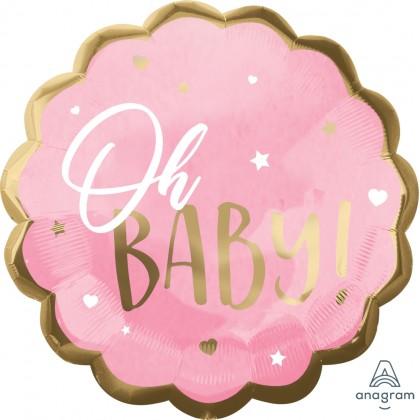 """P32 22"""" Pink Baby Girl Jumbo HX® Foil balloon"""