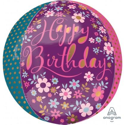 """G20 16"""" Dainty Floral Happy Birthday Orbz™ XL™"""