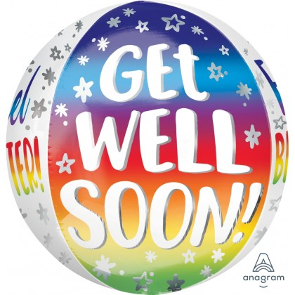 "G20 15"" Get Well Soon SIlver Rainbow Orbz™ XL™"