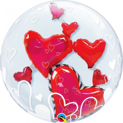"""Q 24"""" Lovely Floating Hearts DoubleBubble Balloon"""
