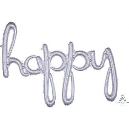 """G40 39"""" (Silver Holo) Script Phrase : Happy"""