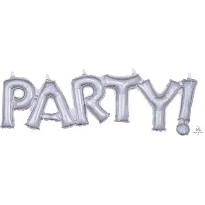 """G20 33"""" (Silver Holo) Block Phrase : Party!"""